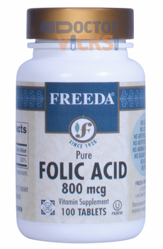 Freeda Vitamins - Folic Acid 800 mcg - 100 Tablets - © DoctorVicks.com