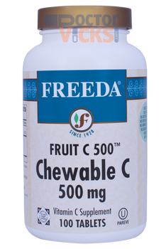 Freeda Vitamins - Chewable Fruit C 500 mg - Orange Flavor - 100 Chewies - © DoctorVicks.com