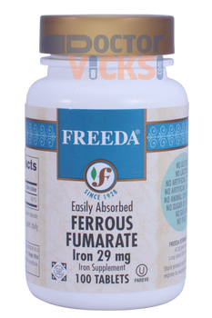Freeda Vitamins - Iron as Ferrous Fumarate 29 mg - 100 Tablets - © DoctorVicks.com
