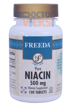Freeda Vitamins - Niacin (B3) 500 mg - 100 Tablets - © DoctorVicks.com