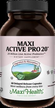 Maxi Health - Maxi Active Pro-20 - 20 Billion Live & Active CFUs - 30/60 MaxiCaps - DoctorVicks.com