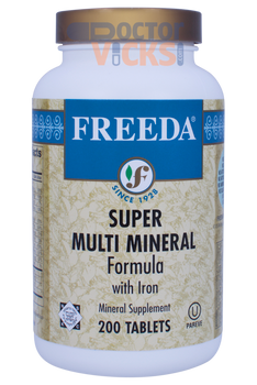 Freeda Vitamins - Super Multi-Minerals With Iron - 200 Tablets - © DoctorVicks.com