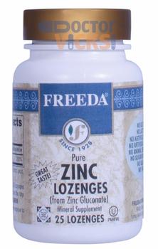 Freeda Vitamins - Zinc Lozenges (Zinc Gluconate) 30 mg - Orange Flavor - 25 Lozenges - © DoctorVicks.com