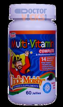 Uncle Moishy Vitamins - Multivitamin & Mineral No Iron - Grape Flavor - 60 Jellies - © DoctorVicks.com