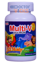 Uncle Moishy Vitamins - Multivitamin & Mineral With Iron - Cherry Flavor - 90 Chewies - © DoctorVicks.com