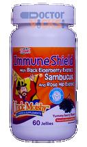 Uncle Moishy Vitamins - Immune Shield With Sambucus - Berry Flavor - 60 Jellies - New Bottle - © DoctorVicks.com