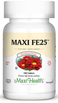 Maxi Health - Maxi FE 25 mg - Iron as ferrous fumarate - 100 Tablets - DoctorVicks.com