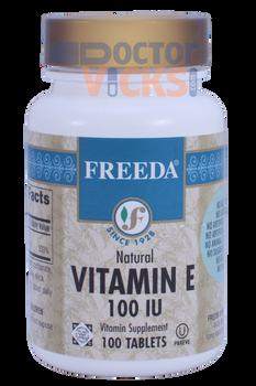 Freeda Vitamins - Vitamin E 100 IU - 100 Tablets - © DoctorVicks.com