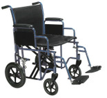"Bariatric Heavy Duty Transport Wheelchair with Swing Away Footrest, Blue, 22"" Seat BTR22-B"