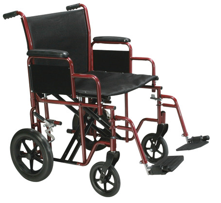 """Bariatric Heavy Duty Transport Wheelchair with Swing Away Footrest, Red, 20"""" Seat BTR20-R"""
