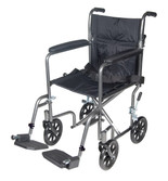 "Lightweight Steel Transport Wheelchair, Fixed Full Arms, 17"" Seat Width, TR37E-SV"