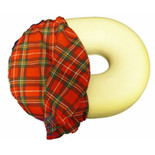 Molded Foam Ring Cushion with Plaid Cover