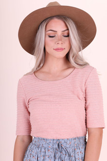Ribbed Half-Sleeve Salmon Tee