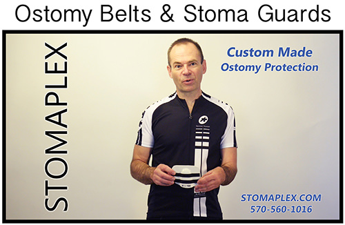 Wear the Stomaplex stoma guard when you need to protect your ostomy stoma from contact when playing sports like hockey or football or any other full contact       sport. The Stomaplex stoma guard is available with a wider ostomy belt to help prevent hernias and to help keep the ostomy guard secured to your abdomin.
