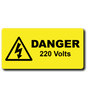 Engraved danger 220 volts label