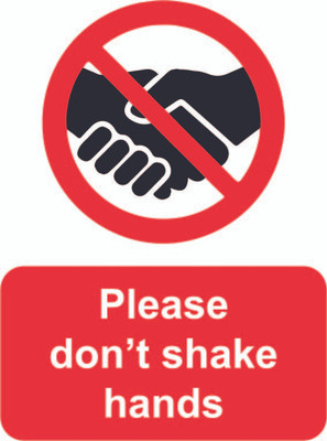 No Shaking Hands sign