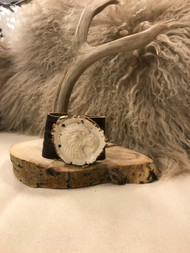 Carved Elk Burr and Leather Snakeskin Cuff - Bear