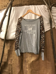 Paris Montana® original sheer leopard long sleeve and cotton body tee - O/S