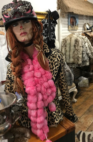 Pink pom real fur scarf
