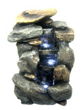 Natural Rock Tabletop Waterfall Fountain w /LED Lights