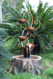 "40"" Elegant Cascading Bowls on Log Fountain GRN120"