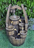 5 Falling Wooden Barrels Fountain GRN098