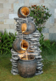 "48"" Falling Pots Fountain w/ Halogen Lights"