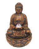 Buddha Tabletop Fountain w/ Spinning Glass Ball & LED Lights