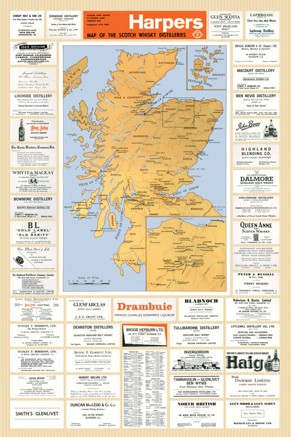 The 1960 Distillery Map of Scotland Scotland Distillery Map on scotland cities list, culloden moor map, scotland independence poll latest, guild of sommeliers scotch map, scotland wallpaper scottish highland castles, scotland gardens, scotland hamilton family, scotland scotch regions, scotland highlands maps, scotland hotels, scotland temperatures by month, scotland lochs, scotland plants, islay distillery map, highland distillery map, scotland accent, scotland scotch brands, scotland distillery poster, scotland beer, scotland whisky,