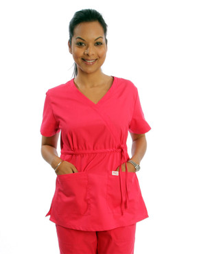 Shown in Melon. Model is wearing size Small. Features two deep front pockets.