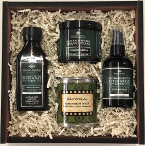 Gift Box - Vintage Wet Shave Products And Aromatherapy Candle Montana Natural Shave Company
