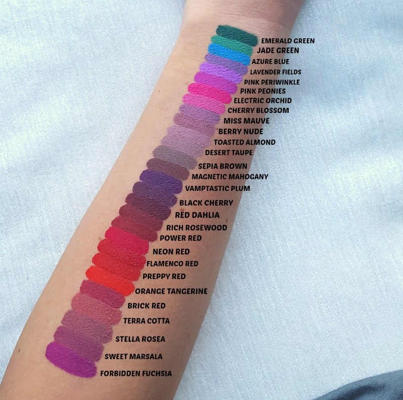 All 28 Aromi liquid lipstick shades