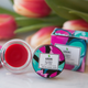red hibiscus glossy lip tint handcrafted in small batches