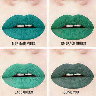 green liquid lipstick swatches handcrafted gluten-free