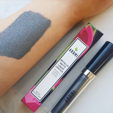 silver-blue metallic liquid lipstick