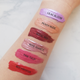 lip tint swatches metallic + sheer finishes