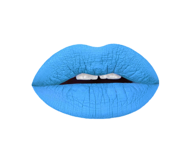 baby blue liquid lipstick swatch