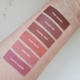 Aromi nude and peachy liquid lipstick swatches