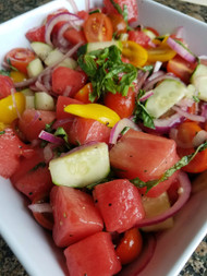 Tomato, Cucumber and Watermelon Salad