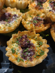 Manchego and Black Olive mini quiche