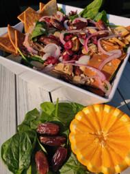Spinach, Date, and Pita Salad with Orange Vinaigrette