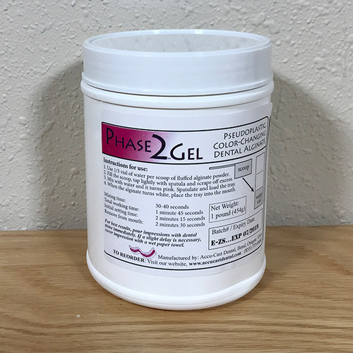 Phase2Gel Dental Alginate- 1 pound canister US Made Dental Alginate sold directly to the dental office at wholesale prices Canister comes with scoop and vial