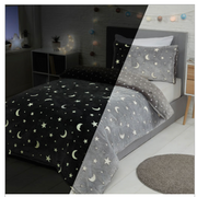 Sleepdown Glow in the Dark Moons & Stars Fleece Duvet Set - Single