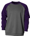 CREWNECK FLEECE SWEATSHIRT - HEATHER/PURPLE - AW SOFTBALL LOGO