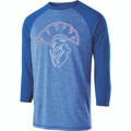 3/4 SLEEVE - POLYESTER - ROYAL/ROYAL HEATHER - SPARTAN HEAD
