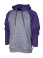 HOODIE RAGLAN SLEEVE  - POLYESTER - HEATHER BLACK / PURPLE SLEEVES
