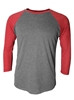 3/4 RAGLAN SLEEVE  - CREW NECK - SPORT GRAY/RED SLEEVES