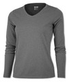 LADIES - LONG SLEEVE V-NECK - DRIFIT - HEATHER BLACK