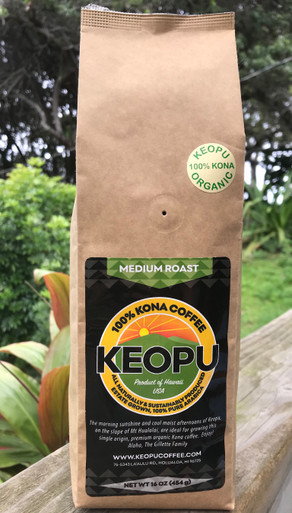 1lb (16oz/454g) organic 100% Kona Coffee, whole bean, medium roast