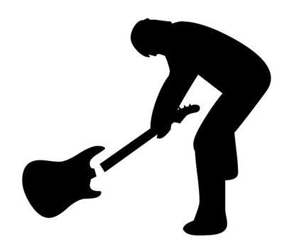 Rocker Smashed Guitar  Car Decal